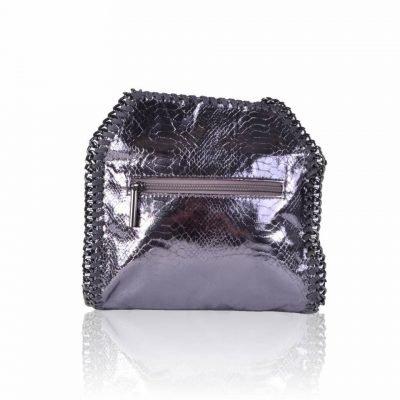 Handtas Metallic Chain antraciet dames tas tassen giuliano it bags schoudertas luxe goedkope bags online achterkant