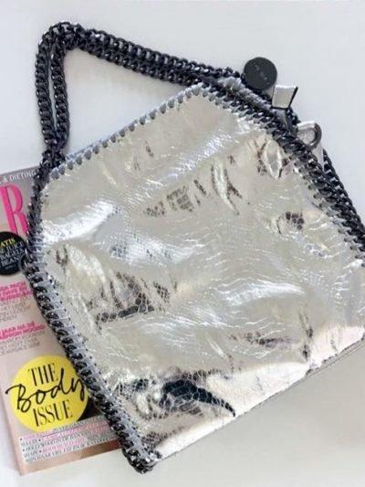 Handtas Metallic Chain zilver zilveren dames tas tassen giuliano it bags schoudertas luxe goedkope bags online