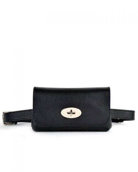 Leren Heuptas Classic-zwart zwarte -beltbag-belt purse riemtas-heuptasje-met-riem-fashion-festival-musthave-look-a-like-tassen-online-giuliano-achter