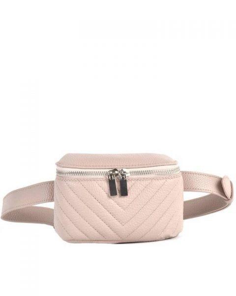 Leren Heuptas Lines roze pink nude beltbag-belt purse riemtas-heuptasje-met-riem-fashion-festival-musthave-look-a-like-tassen-online-giuliano leer rits