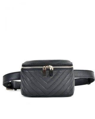 Leren Heuptas Lines -zwart zwarte -beltbag-belt purse riemtas-heuptasje-met-riem-fashion-festival-musthave-look-a-like-tassen-online-giuliano leer