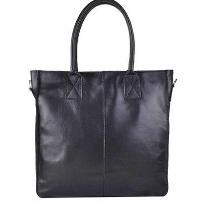 Leren-Shopper-Lara-zwart zwarte-grote-lederen-shopper-rits-binnenvakken-dames-shopper-zacht-leer-online-kopen