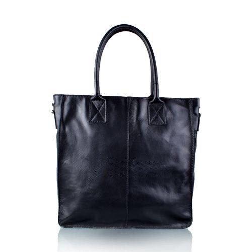 Leren Shopper Lara zwart zwarte grote lederen shopper rits binnenvakken dames shopper zacht leer online kopen