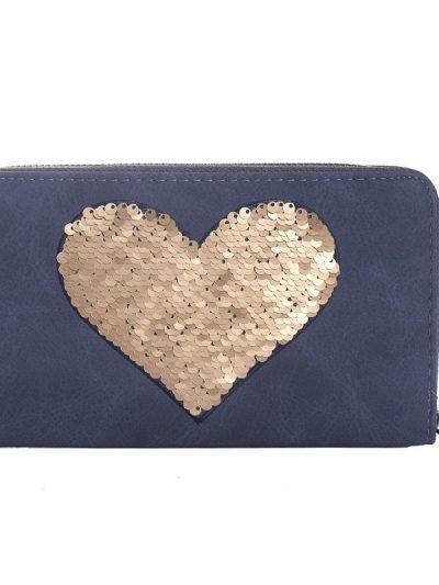 Portemonnee Pailletten Hart blauw blauwe dames-portemonees-grote-gouden pailletten ster-print-wallet-online-bestellen-kopen-musthave-accessoires
