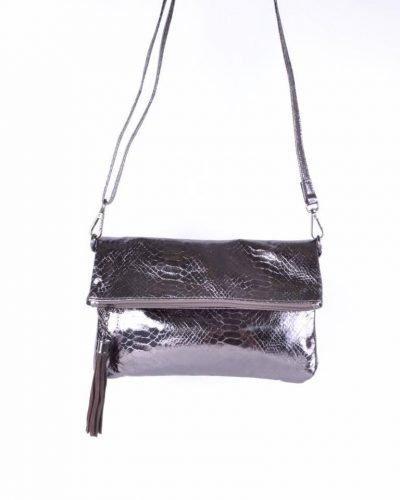 Schoudertas Snake antraciet clutches tasjes lak coating rits glans slangenprint online fashion tassen kopen