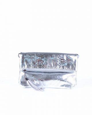 Schoudertas Snake zilver zilveren clutches tasjes lak coating rits glans slangenprint online fashion tassen kopen
