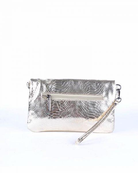 Schoudertas Snake zilver zilveren clutches tasjes lak coating rits glans slangenprint online fashion tassen kopen achterkant