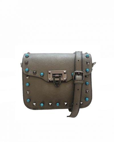 Schoudertasje Studs Brons bronzen tassen blauwe zilveren studs it bags kleine tas online bestellen fashion look a like