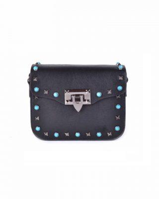 Schoudertasje Studs zwart zwarte boho tassen blauwe zilveren studs it bags kleine tas online bestellen fashion look a like shoppen