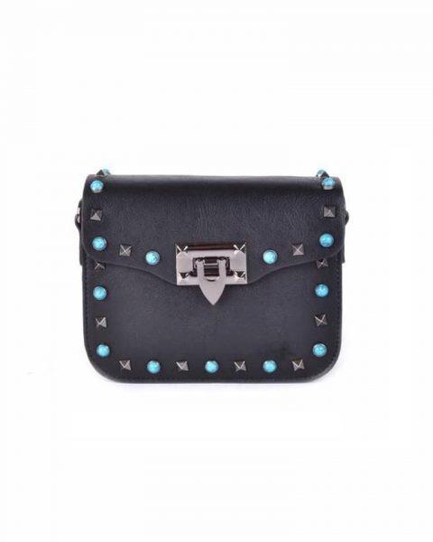 610e770cf5e Schoudertasje Studs zwart zwarte boho tassen blauwe zilveren studs it bags  kleine tas online bestellen fashion