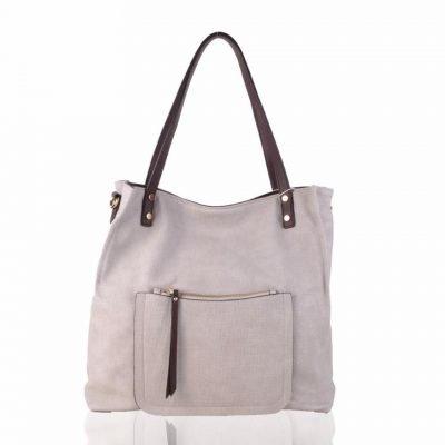 Shopper Woven apricot grote tas geweven tas kunstleder voorvakje bruine handvat dames tassen online fashion
