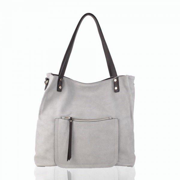 Shopper-Woven-beige creme apricot-grote-tas-geweven-tas-kunstleder-voorvakje-bruine-handvat-dames-tassen-online-fashion-600x600