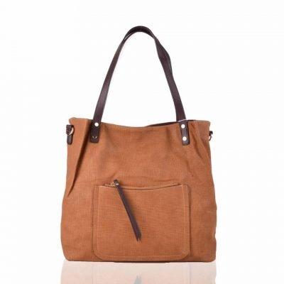 Shopper Woven camel grote tas geweven tas kunstleder voorvakje bruine handvat dames tassen online fashion