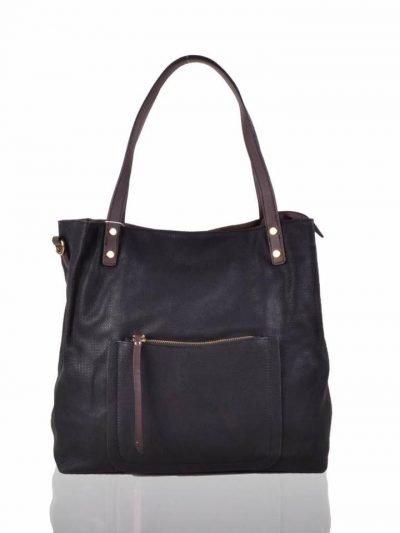 Shopper Woven zwart zwarte grote tas geweven tas kunstleder voorvakje bruine handvat dames tassen online fashion