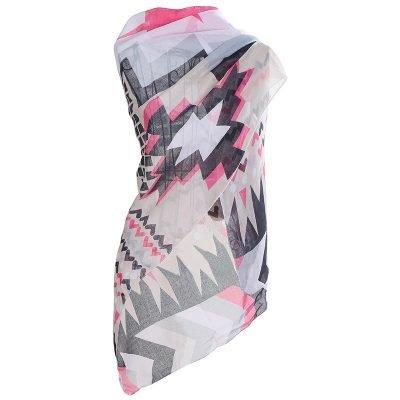 Sjaal hectic wit witte zwart zwarte viscose dames jaals omslagdoeken wit met gekleurde print aztec musthave fashion sjaal