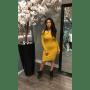 Strapless Jurk Lina geel gele off the shoulders blote schouder zachte dames jurken strecht sexy dames dress kantoor jurk modemusthaves online bestellen