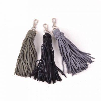 Suede Sleutelhanger kwastjes zwart grijs groen tassen sleutel hangers leer dames tassen accessoires online bestellen