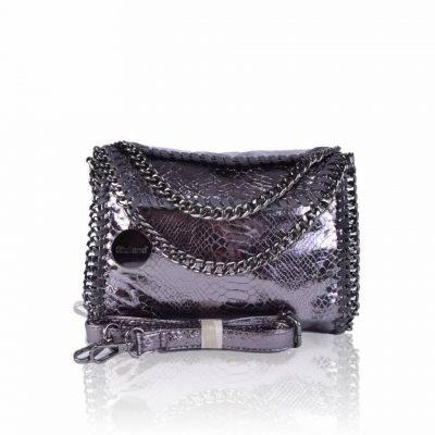 Handtas Metallic Chaine zilveren zilver kleurige -croco-kroko-glans print-tas-kettingen-musthave-it-bag-musthave-online-kopen-goedkoop-cheap-giuliano