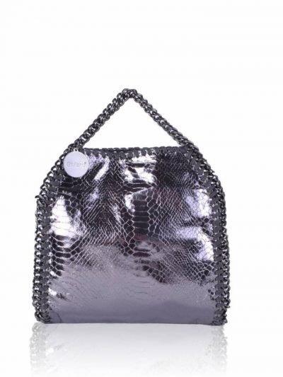 Handtas Metallic Chaine zilveren zilver kleurige -croco-kroko-glans print-tas-kettingen-musthave-it-bag-musthave-tas-met-kettingen-online-kopen-goedkoop-cheap-giuliano