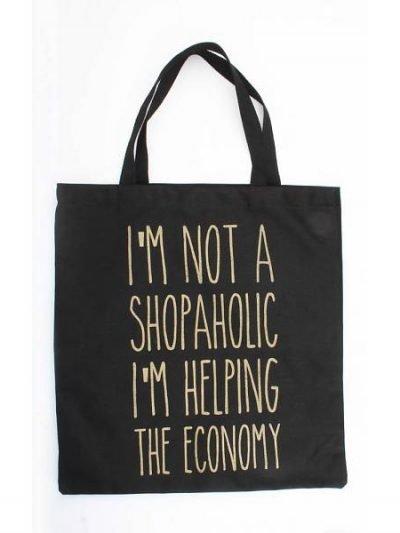 Zwarte canvas tas Shopaholic hippe grote canvas tas zwart tekst musthave fashion tassen dames online kopen