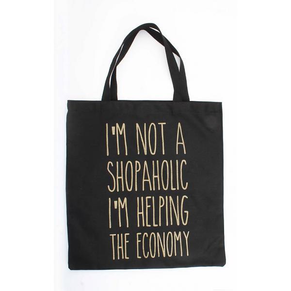 b11303f1834 Zwarte canvas tas Shopaholic hippe grote canvas tas zwart tekst musthave  fashion tassen dames online kopen