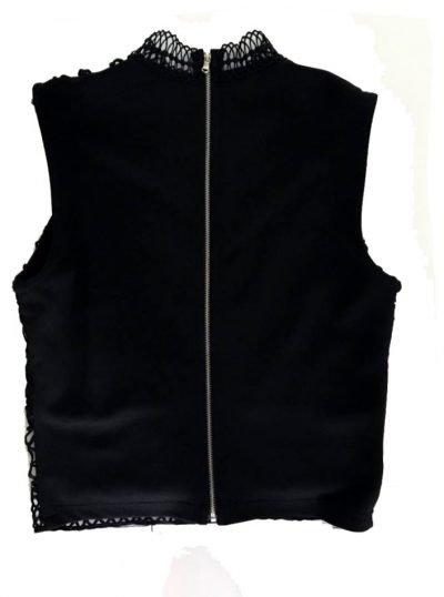 Zwarte top Rits zwart dames topjes truitje gehaakt kanten gehaakte dames mode online bestellen achterkant rits trui