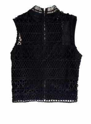 Zwarte top Rits zwart dames topjes truitje gehaakt kanten gehaakte dames mode online bestellen rits