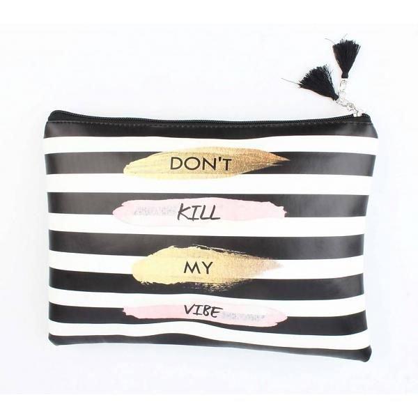 clutch-dont kill my vibe-zwart-wit dames clutches tasjes strepen tekst fashion tassen online musthave kopen