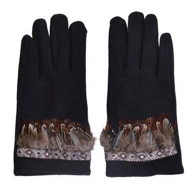 Handschoenen Indian Summer zwart zwarte dames handschoen met veren boho winter musthaves accessoires