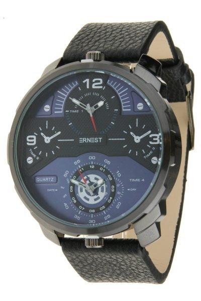 Heren Horloge Rough Metal zwarte leren band stoere brede mannen horloges ernest-herenhorloge-rough-zwart-blauw