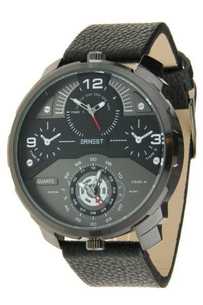 Heren Horloge Rough Metal zwarte leren band stoere brede mannen horloges ernest-herenhorloge-rough-zwart-grijs