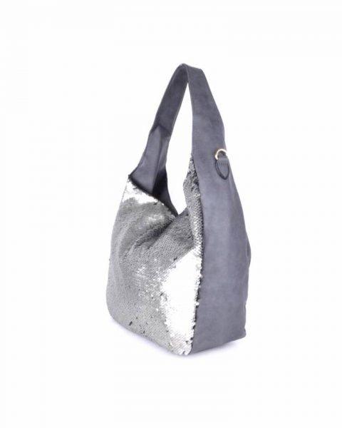 Leren Tas Pailletten grijs grijze leren dames schoudertas zilveren pailletten glitter tassen it bags dames mode fashion