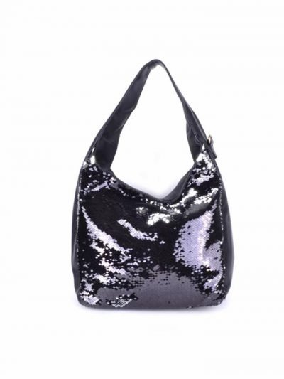 Leren Tas Pailletten zwart leer dames schoudertas zilveren pailletten glitter tassen it bags dames mode fashion