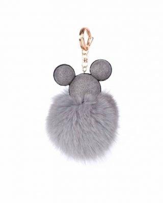 Sleutelhanger Mickey grijs grijze wollen tassenhanger sleutelhangers met mickey mouse oortjes musthave fashion