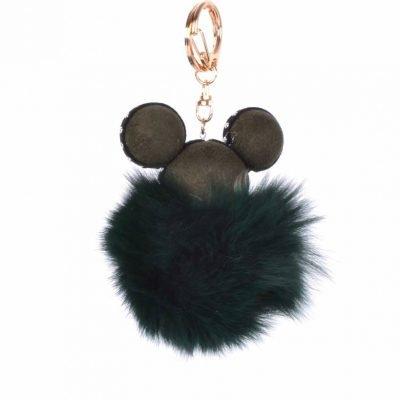 Sleutelhanger Mickey groen groene wollen tassenhanger sleutelhangers met mickey mouse oortjes musthave fashion