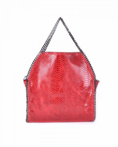 Leren Croco Tas Chains rood rode leren kroko print tas ketting hengsel look a like dierenprint musthave fashion tassen