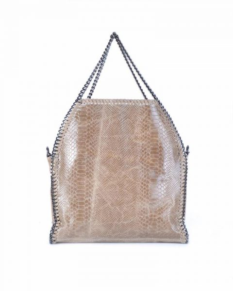 Leren Croco Tas Chains taupe leren kroko print tas ketting hengsel look a like dierenprint musthave fashion tassen