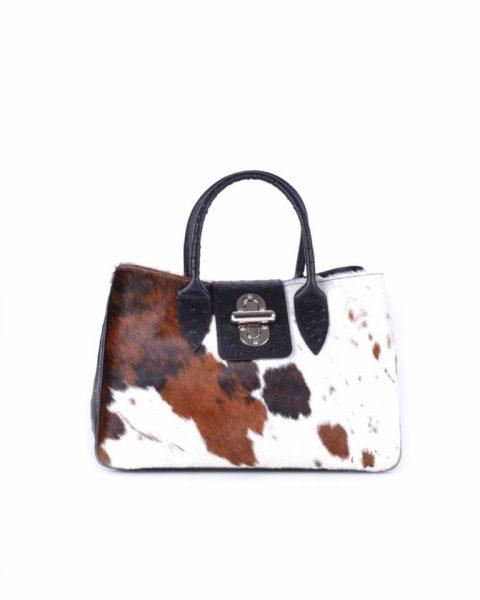 Leren Tas Dierenvacht koe vacht en struisvogel print lederen dames handtassen itbags it bags luxe tassen giuliano bestellen