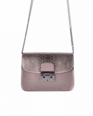 Leren Tas Metallic Croco brons bronzen stevige dames schoudertassen kettinghengsel schoudertas musthave it bags online