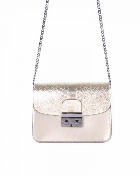 Leren Tas Metallic Croco goud gouden stevige dames schoudertassen kettinghengsel schoudertas musthave it bags online