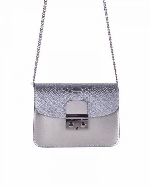 Leren Tas Metallic Croco grijs grijze stevige dames schoudertassen kettinghengsel schoudertas musthave it bags online