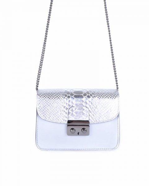 Leren Tas Metallic Croco zilver zilveren stevige dames schoudertassen kettinghengsel schoudertas musthave it bags online