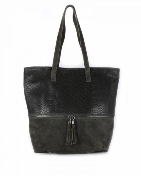 Suede Shopper Croco groen groene half suede grote tassen met kwastje musthave it bags shoppers tas online bestellen
