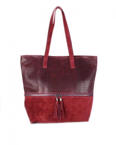 Suede Shopper Croco rood rode bordeaux half suede grote tassen met kwastje musthave it bags shoppers tas online bestellen