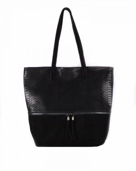 Suede Shopper Croco zwart zwarte half suede grote tassen met kwastje musthave it bags shoppers tas online bestellen