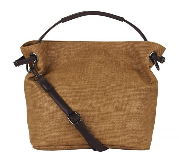 Bruine Tas Jeebee donker bruin hengsel en details canvas look dames tassen online bestellen camel tassen fashion bags