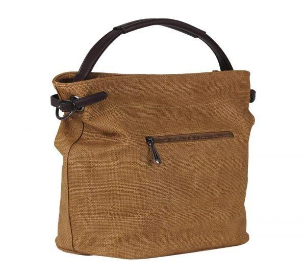 Bruine Tas Jeebee donker bruin hengsel en details canvas look dames tassen online bestellen camel tassenzijkant
