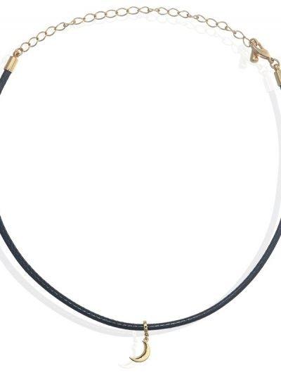 Choker moon zwart zwarte chokers met goud gouden maan bedel necklace korte kettingen ketting dames sieraden musthave fashion