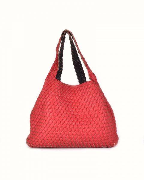 Gevlochten Tas braids rood rode zwart zwarte tas binnenste buiten omgekeerd duo tas 2 tassen ineen fashion grote shoppers musthaves kopen