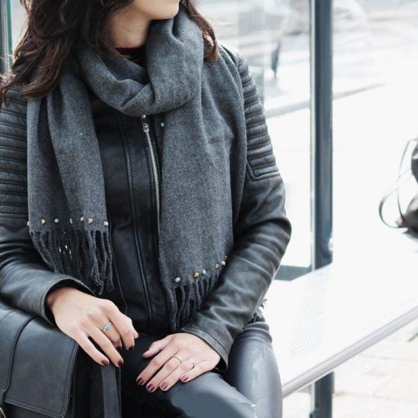 Grijze Sjaal Studs grijs lange warme wollen sjaal met blauwe gouden studs dames sjaals omslagdoeken winter accessoires kopen bestellen
